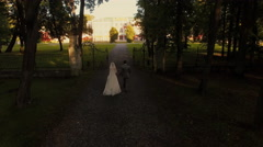 Aerial drone shot of a groom and bride moving towards mansion in a park Stock Footage