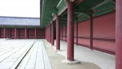 Zoom Out Pillars In Courtyard Changdeokgung Palace South Korea Stock Footage