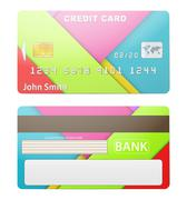 Vector illustration of detailed credit card - stock illustration