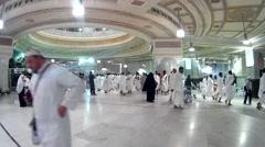 Pilgrims perform saei inside Masjidil Haram Stock Footage