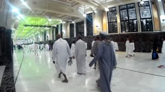 Pilgrims perform saei inside Masjidil Haram Stock Footage