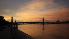 Nonthaburi bridge with sunset in evening in Nonthanuri Thailand Stock Footage
