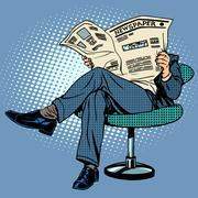 Newspaper reading man - stock illustration