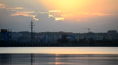 Time lapse of sunset with Kiev hydroelectric power station - stock footage