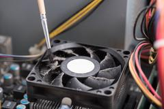 Dusty processor fan - stock photo