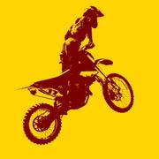 Rider participates motocross championship.  Vector illustration. - stock illustration