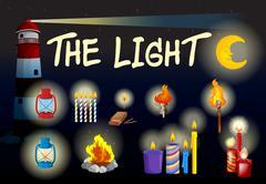 Different kind of lights Stock Illustration