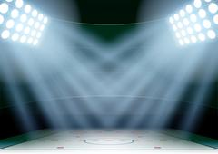 Background for posters night ice hockey stadium in the spotlight Stock Illustration
