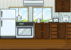Kitchen full with furnitures and equipments Stock Illustration