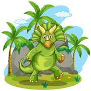Green dinosaur standing on two feet Stock Illustration