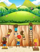 Children climbing up the cliff Stock Illustration