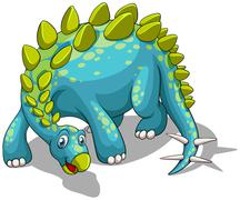 Blue dinosaur with spikes tail Stock Illustration