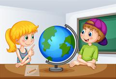 Boy and girl studying geography Stock Illustration