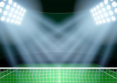 Background for posters night tennis stadium in the spotlight - stock illustration