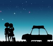 Silhouette couple at night time Stock Illustration