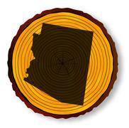 West Arizona Map On Timber - stock illustration