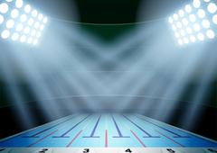 Background for posters night swimming pool stadium in the spotlight - stock illustration