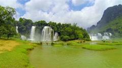 Ban Gioc waterfall panning. - stock footage