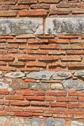 Old brick wall texture ancient brickwork masonry - stock photo