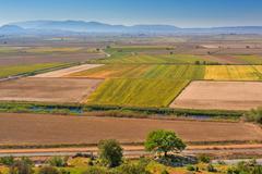 Aerial view of farming land Stock Photos