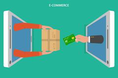 E-commerce flat vector concept. - stock illustration