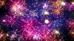 Fireworks display with lots of colorful bursts loop 4k (4096x2304) Stock Footage