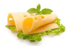 Folded Maasdam cheese - stock photo