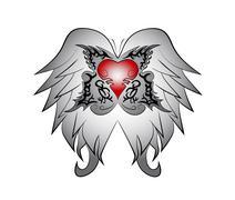 Wing heart tribal - stock illustration