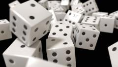 Dice rolling slow motion closeup DOF casino gambling gaming Vegas 4K - stock footage