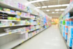 Supermarket blur background with bokeh, Miscellaneous Product shelf Stock Photos