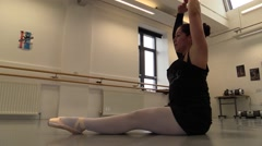 Dancer at school. Stretching - stock footage