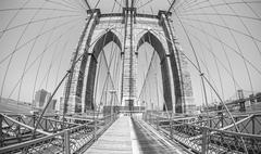 Brooklyn Bridge in fisheye lens, monochromatic style, USA. - stock photo