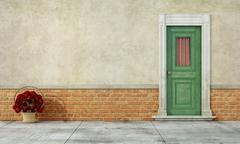 Old facade with front door Stock Illustration