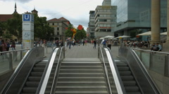 Stairs to the subway at Schlossplatz station entrance, Stuttgart Stock Footage
