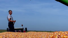 Young satisfied farmer enjoys in yield during the corn harvest - stock footage