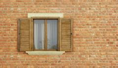 Detail of an old house with brick wall Stock Illustration