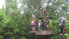 Zip line to platform in Mexican Jungle - stock footage