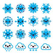 Stock Illustration of Kawaii snowflakes, clouds with snow - Christmas, winter icons set