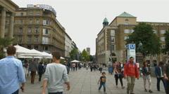 People walking on Konigstrasse, near the Schlossplatz subway entrance, Stuttgart Stock Footage