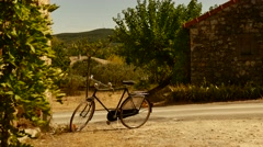 South France path small road with bike Stock Footage