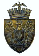 Bronze plaque of coat of arms of City of Bucharest, Romania - stock photo