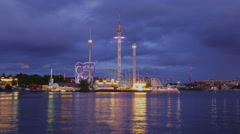 View of Grona Lund, Stockholm, Sweden Stock Footage
