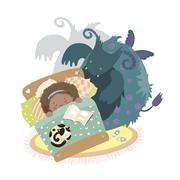 Monster sits at bed and frightened girl - stock illustration