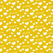 Yellow and White I Love Writing Tile Pattern Repeat Background - stock illustration
