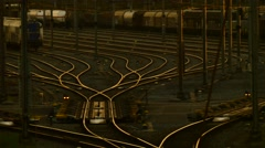 Train rails station golden hours Stock Footage