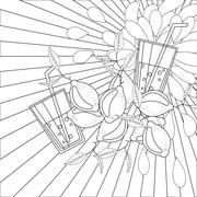 Coloring book page lemons and juice - stock illustration