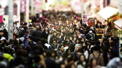 Crowds of Shoppers in the Takeshita dori of Harajuku, Slow Motion Stock Footage