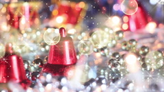 Christmas decoration bell and glitter loopable Stock Footage