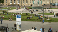 People walking on the alleys in Palace Square, Stuttgart Stock Footage
