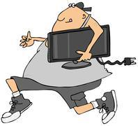 Man stealing a TV Stock Illustration